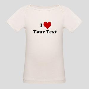 Customized I Love Heart Organic Baby T-Shirt