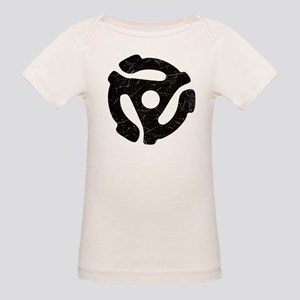 Black Distressed 45 RPM Adapter Organic Baby T-Shi