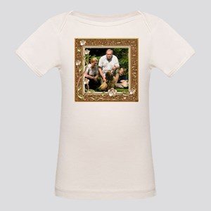 Personalizable Golden Flowers Frame Organic Baby T