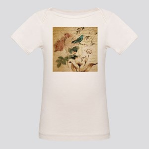 teal bird vintage roses swirls botanical a T-Shirt