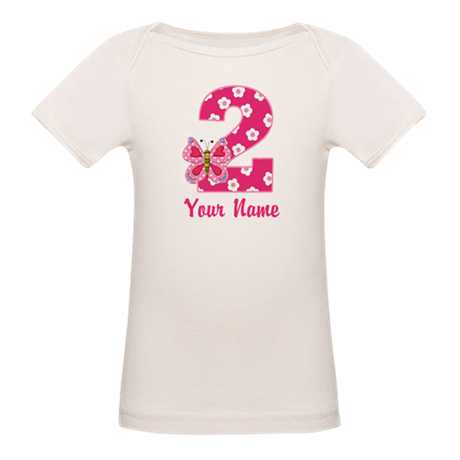 2nd Birthday Butterfly Organic Baby T-Shirt