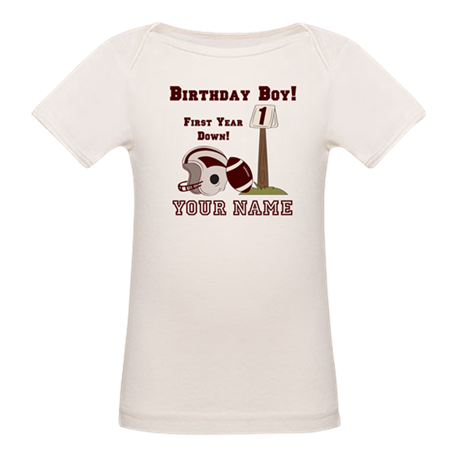 1st Birthday Football Organic Baby T-Shirt