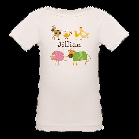 Personalized Farm Animals Organic Baby T-Shirt