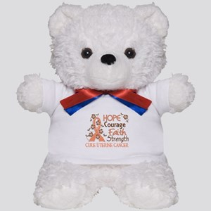 Hope Courage Faith Uterine Cancer Shirts Teddy Bea