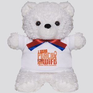I Wear Peach 6.4 Uterine Cancer Teddy Bear