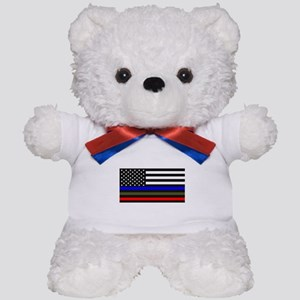 Thin Blue Line - USA Flag Red, Blue and Teddy Bear