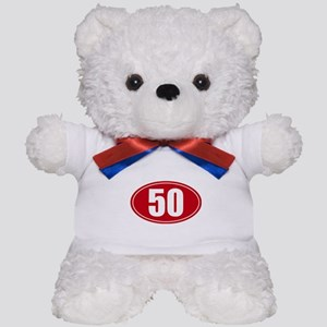 50 miles red oval sticker decal Teddy Bear