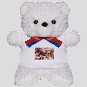 Curry Ives American Homestead Winter Teddy Bear