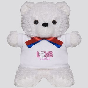 Love is Softball : Pink Teddy Bear