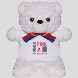 Pink Awareness Ribbon Customized Teddy Bear