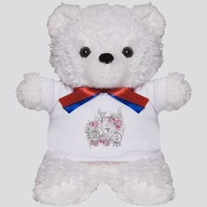 Shabby Chic Bicycle Peony Teddy Bear