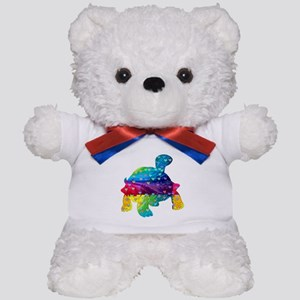Rainbow Turtle With Multicolored Hearts Teddy Bear