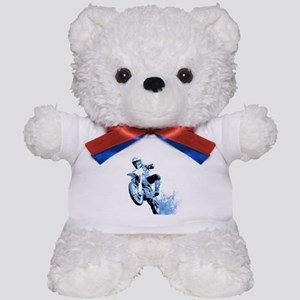 Blue Dirtbike Wheeling in Mud Teddy Bear