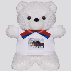 Horses Running In The Snow Teddy Bear