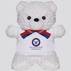 PERSONALIZED US Navy Blue White Teddy Bear