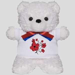 Modern Red and Black Floral Design Teddy Bear