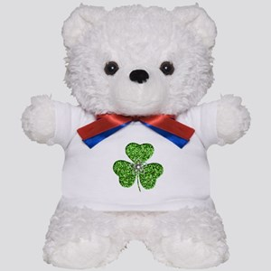 Glitter Shamrock With A Flower Teddy Bear