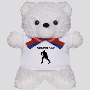 Custom Hockey Player Silhouette Teddy Bear