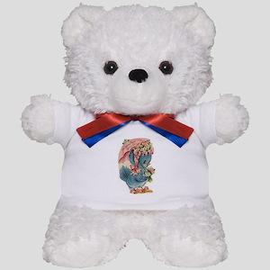 Vintage Easter Blue Bird Bonnet Teddy Bear