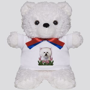 Mothers Day Pink Tulips Bichon Teddy Bear