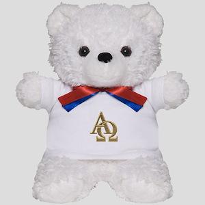 """3-D"" Golden Alpha and Omega Symbol Teddy Bear"