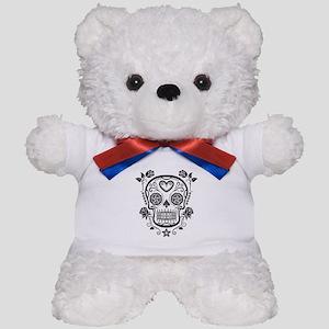Black Sugar Skull with Roses Teddy Bear