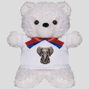 Cute Baby Elephant Calf with Reading Glasses Teddy