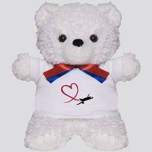 Airplane red heart Teddy Bear