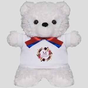 Boho Wreath Wedding Monogram Teddy Bear