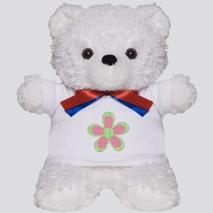 Pink and Green Flowers Teddy Bear