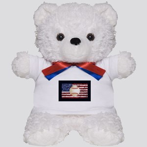 Baseball Ball On American Flag Teddy Bear