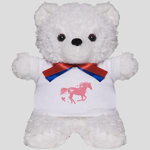 Pink Galloping Heart Horse Teddy Bear
