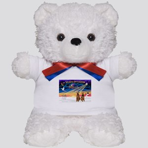 XmasSunrise/2 Airedales Teddy Bear