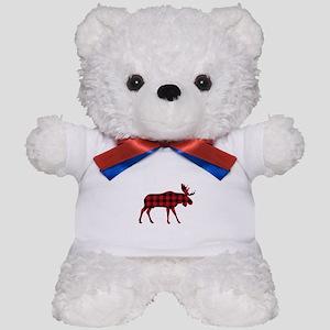Plaid Moose Animal Silhouette Teddy Bear