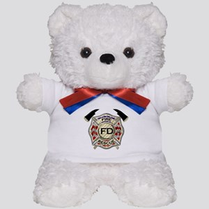 Maltese Cross with American Flag backgr Teddy Bear