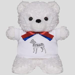 Pit Bull Word Art Greyscale Teddy Bear