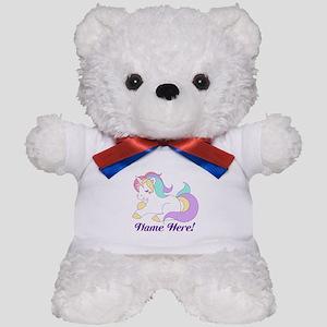 Personalized Custom Name Unicorn Girls Teddy Bear