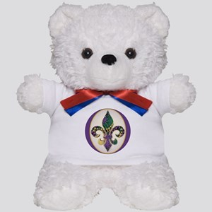 Fleur de lis Mardi Gras Beads Teddy Bear