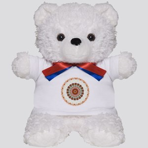 Detailed Orange Earth Mandala Teddy Bear