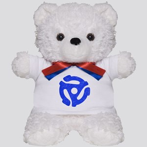 Blue Distressed 45 RPM Adapter Teddy Bear