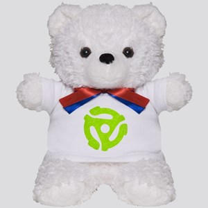 Lime Green Distressed 45 RPM Adapter Teddy Bear