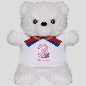 Personalized Pink Ladybug 3rd Birthday Teddy Bear