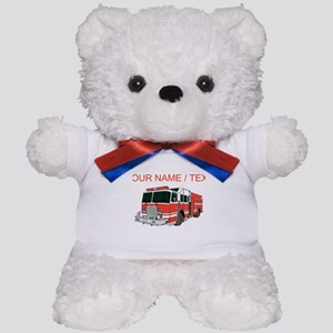 Custom Red Fire Truck Teddy Bear