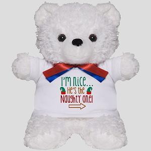 Im Nice Hes Naughty Elf Hat Teddy Bear