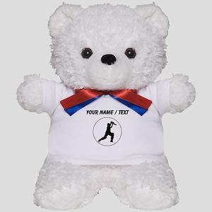 Custom Cricket Player Circle Teddy Bear