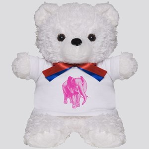 Pink Elephant Illustration Teddy Bear