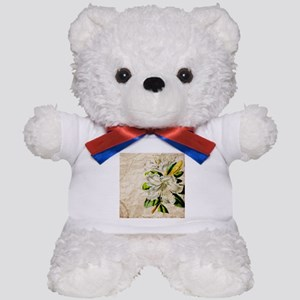 french botanical white lily Teddy Bear