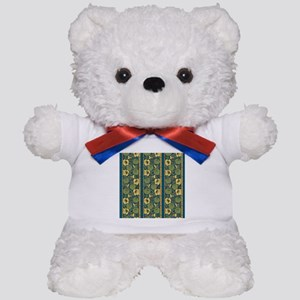 Blue and Yellow Floral Nouveau Teddy Bear