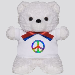Distressed Rainbow Peace Sign Teddy Bear