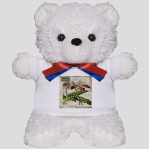 vintage orchid french botanical Teddy Bear